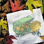 """Текстильный купон с ручной росписью """"Лесное такси"""""""