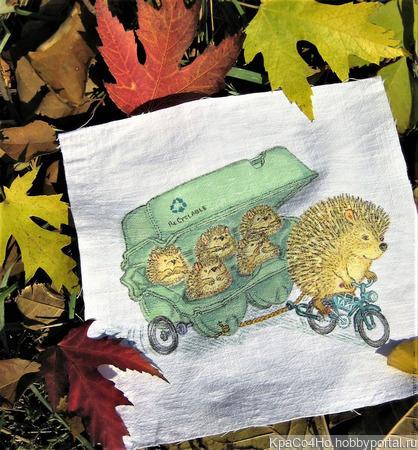 """Текстильный купон с ручной росписью """"Лесное такси"""" ручной работы на заказ"""
