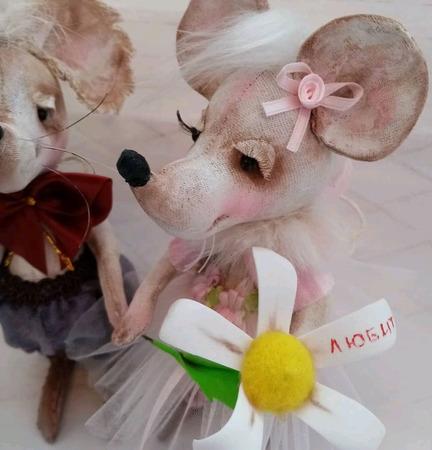 """Мыши игрушечные """"Люблю тебя"""" ручной работы на заказ"""