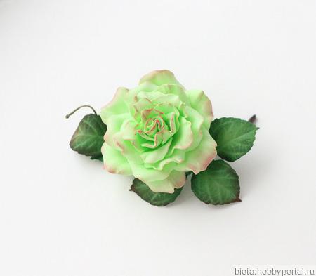 """Брошь зеленый цветок из фоамирана """"Салатовая роза"""" ручной работы на заказ"""