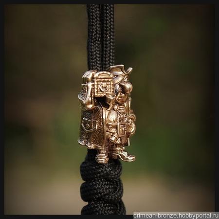 """Бусина """"Бонс"""" для темляков или браслетов, бронза ручной работы на заказ"""