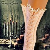Волшебная флейта. Носки вязаные, шерстяные, стиль бохо, ручное кружево