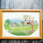 """Картина """"Игра на поляне"""", ручная вышивка крестом"""