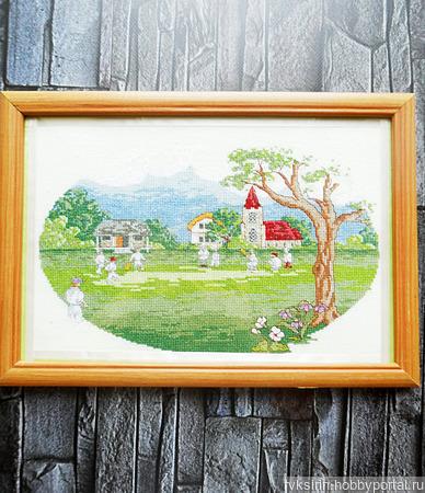 """Картина """"Игра на поляне"""", ручная вышивка крестом ручной работы на заказ"""