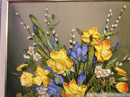 Картина «Весеннее настроение» вышита лентами ручной работы на заказ