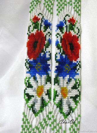 """Гердан """"Подсолнух и полевые цветы"""" ручной работы на заказ"""