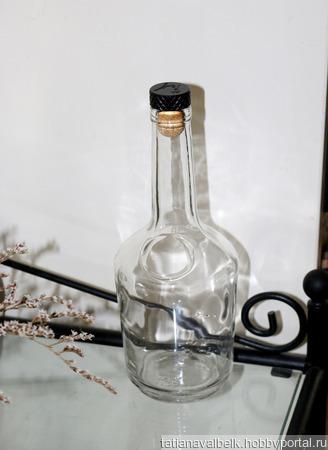 Бутылка бесцветное стекло пузатая с пробкой ручной работы на заказ