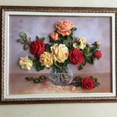 Картина «Очарование розы» вышита лентами