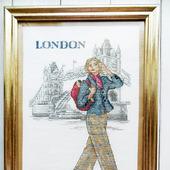 """Картина """"Прогулка по Лондону"""", ручная вышивка крестом"""