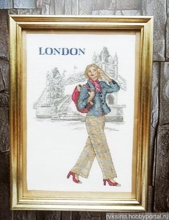 """Картина """"Прогулка по Лондону"""", ручная вышивка крестом ручной работы на заказ"""