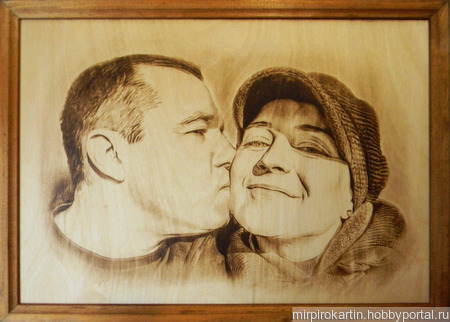 Портреты и картины, выжженные на дереве по фотографии ручной работы на заказ
