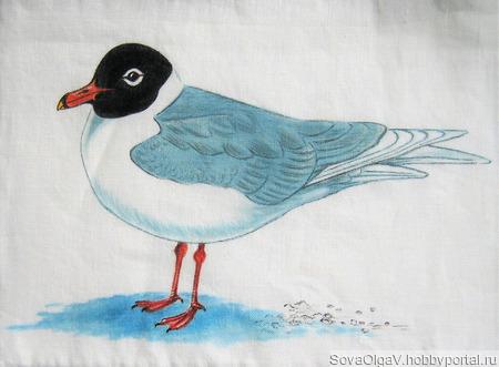 Сумка летняя с ручной росписью «Чайка» ручной работы на заказ