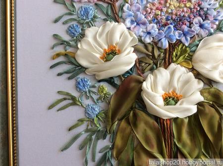 Картина «Нежность» вышитая лентами ручной работы на заказ