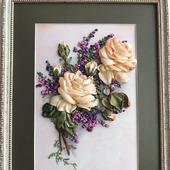 Картина «Ветка розы», вышита лентами