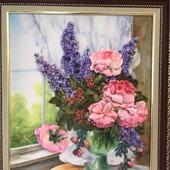 Картина «Букет в вазе» вышитая лентами