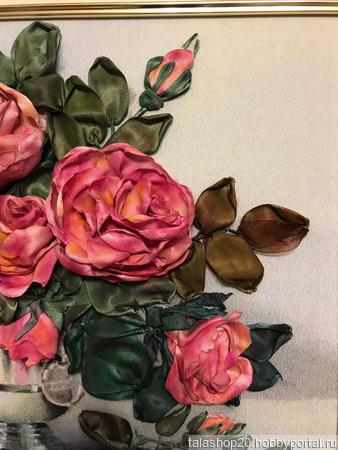 Картина «Букет для Вас», вышита лентами ручной работы на заказ