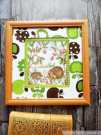"""Картина """"Ежики в лесу"""" ручная вышивка крестом ручной работы на заказ"""