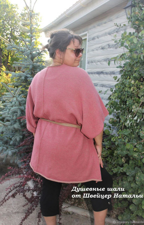 """Пончо-трансформер с поясом вязаное двухстороннее """"Розовый беж"""" ручной работы на заказ"""