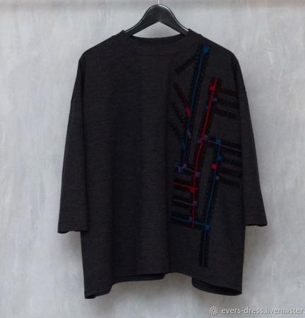 Джемпер длинный, с вышивкой Геометрия 2, шерсть ручной работы на заказ