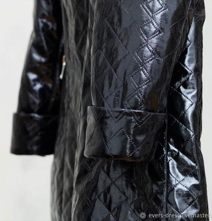 Пальто чёрное лаковое утеплённое Винил ручной работы на заказ
