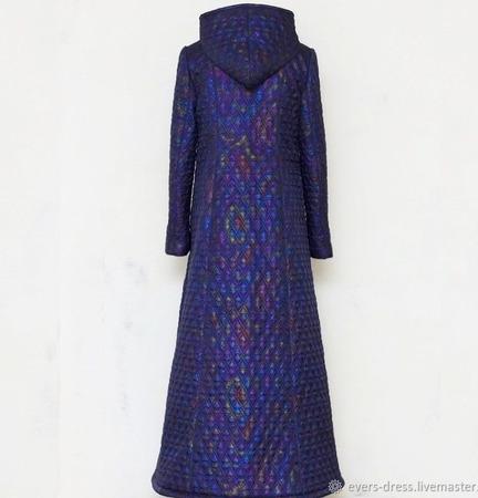 """Пальто зимнее длинное стёганное """"Северное сияние"""" ручной работы на заказ"""