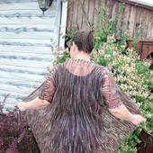 Кардиган летний вязаный из мохера с коротким рукавом в стиле Бохо