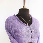Кроп-топ вязаный в стиле Бохо с рукавами Фиолетовый перламутр