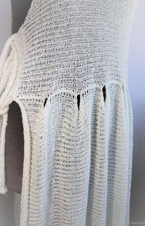 Туника летняя вязаная пляжная с завязками из вискозы в стиле Бохо ручной работы на заказ