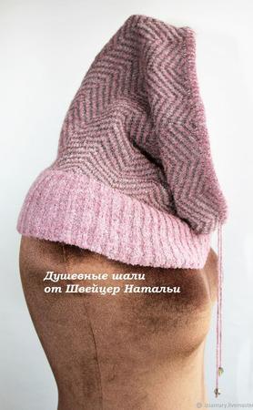 Снуд тонкий в один оборот со шнурком Зигзаг серый и лиловый ручной работы на заказ