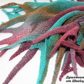 Оригинальная шаль бактус накидка из шерсти Клякса разноцветная