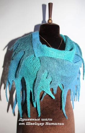 Оригинальная шаль бактус накидка из шерсти Клякса разноцветная ручной работы на заказ