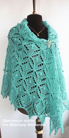 Красивая большая ажурная шаль с шишечками из шерсти Мятная ручной работы на заказ