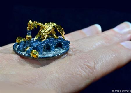 """Кольцо-миниатюра в стиле фэнтези """"На струнах времени..."""" ручной работы на заказ"""