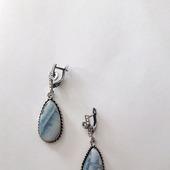 Серьги с голубым опалом Овайхи (Owyhee blue)