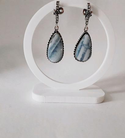 Серьги с голубым опалом Овайхи (Owyhee blue) ручной работы на заказ