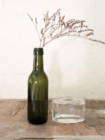 Бутылка винная оливковое стекло маленькая бутылочка ручной работы на заказ