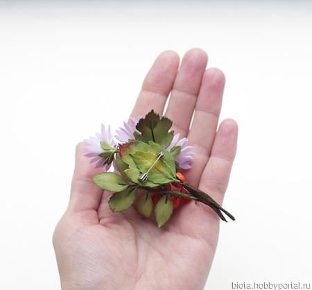 """Брошь с осенними цветами, ягодами, листьями """"Осенний букет"""" из фоамирана ручной работы на заказ"""