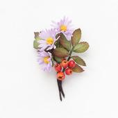"""Брошь с осенними цветами, ягодами, листьями """"Осенний букет"""" из фоамирана"""