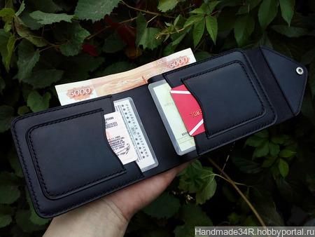 Портмоне для удостоверения, денег и автодокументов ручной работы на заказ