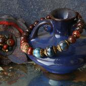 Комплект украшений текстильный с джеспилитом «Сумерки в осеннем городе»