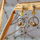 Серьги-пусеты в винтажном стиле «Прозрачная осень»