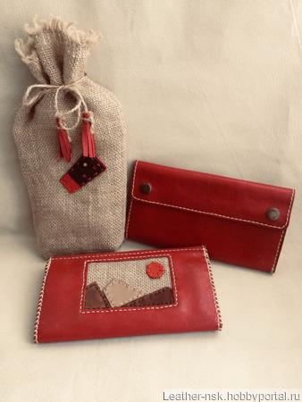 Женский кошелек из натуральной кожи ручной работы на заказ