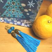 Серьги-кисти синие