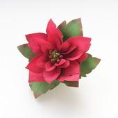 """Брошь новогодняя, цветок красный большой яркий на зажиме """"Пуансетия"""""""