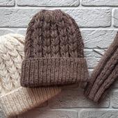 Комплект шапка + митенки