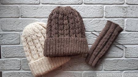 Комплект шапка + митенки ручной работы на заказ