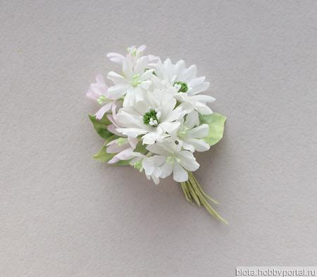 Букет белых цветов из ткани, светлая брошь из хлопка ручной работы на заказ