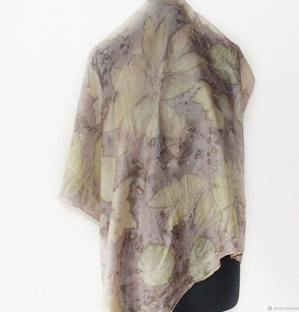 Шелковый платок эко принт ручной работы на заказ