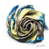 Синий шелковый платок ручной работы
