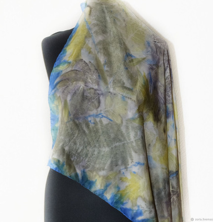 Синий шелковый платок ручной работы ручной работы на заказ